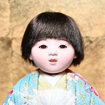 【雛人形】【ひな人形】【市松人形】5号京友禅夫婦木目込市松人形:マホガニー木製ケース:芳俊作【木目込市松人形】【浮世人形】 画像1