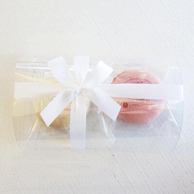 【マカロン2個入】 クリアケース&リボンラッピング 天然着色料使用 プチギフト プレゼント 結婚式 サンクスギフト ホワイトデー バレンタイン Macaron アーモンド フランス菓子