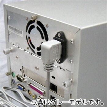 AC電源ケーブル極細L型1.5mケーブルアイネックス(AINEX)ACP-15L-BKやわらか素材使用壁面ぎりぎりまで使える