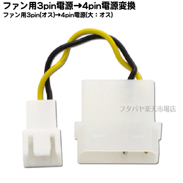 ファン3pin-4pin電源(大)変換ケーブルアイネックス(AINEX) CA-09A●ファン用3pin(オス)→4pin電源(大:オス)●ケーブル長:5cm
