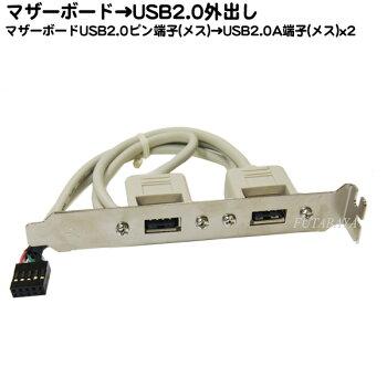 USB2.0A端子外出しブラケットマザーボードUSB2.010pin端子(メス)→外部USB2.0対応A(メス)x2COMON(カモン)BKT-Bケーブル長40cmROHS対応
