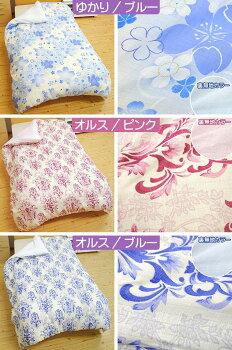 桜の花柄、色はブルー。オーナメント柄、色はピンクかブルー。