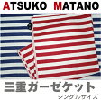 【ATSUKO MATANO】マタノアツコ 3重ガーゼケット シングルサイズ 140X190cm (ボーダー)  俣野温子 東京西川製 RRI7888406 (MT4060)