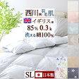 西川 夏用 羽毛布団 イギリス産ダウン90%しっかり『0.3kg』×『綿100%』生地で夏に快適!羽毛肌 掛け布団 シングル 日本製 洗える 西川リビング 無地 薄手 肌ふとん