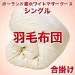 セレクト羽毛布団(合掛)ポーランド産ホワイトマザーグース95%ハンドピック(かさ高:18.0cm詰め物重さ:0.7kg)150×210cmシングルサイズ