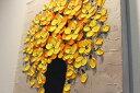 風水にいい絵画「花瓶の花々」黄色/ゴールド 40角 送料無料 インテリア 玄関 リビング 壁掛け 金運 財運 健康運 おしゃれ飾る 新築祝い 引っ越し祝い 開店祝い 立体的 エントランス 店舗 結婚祝い 母の日 2