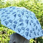 北欧デザインKorkoコルコクイックオープン折りたたみ晴雨兼用日傘50cm『LineFlower』ラインフラワー傘