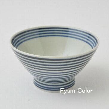 波佐見焼 和山 くらわんか碗 藍駒お茶碗 ボーダー シンプル HASAMI12cm×7cm 180g