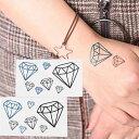 タトゥーシール フェイクタトゥー ダイヤ ダイヤモンド 宝石 ファッションシール 刺青 入れ墨 文身 tattoo 送料無料