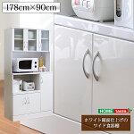 ホワイト鏡面仕上げのワイド食器棚【-NewMilano-ニューミラノ】(180cm×90cmサイズ)