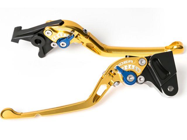送料無料 リデア ニンジャZX-10R レバー 可倒式アジャストレバー ブレーキ&クラッチセット ゴールド ブルー