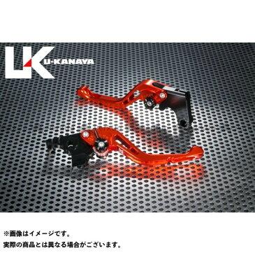 ユーカナヤ GSX-R750 GPタイプ アルミ削り出しビレットショートレバー(レバーカラー:オレンジ) 調整アジャスターカラー:チタン U-KANAYA