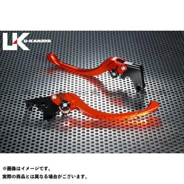 ユーカナヤ GSX-R600 レバー ツーリングタイプ アルミ削り出しビレットレバー(レバーカラー:オレンジ) 調整アジャスター:ブラック