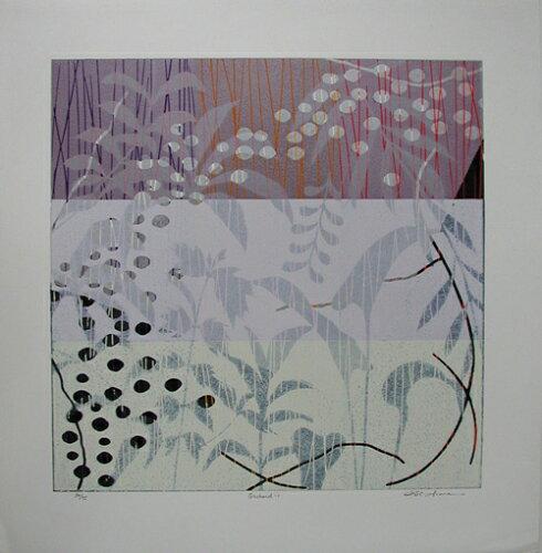 白駒一樹、Orcherd-1、版画/リノカット
