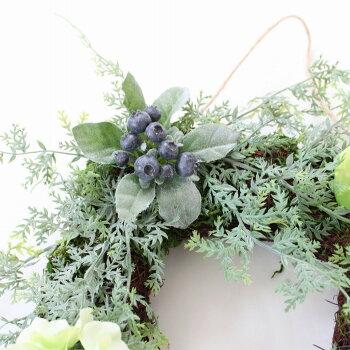 多肉植物・観葉植物リース造花のグリーンリース【N-24】