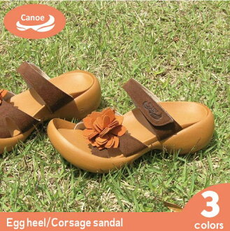Canoe カヌーエッグヒールコサージュ sandal / ladies /EH103 / made in Japan / regatta