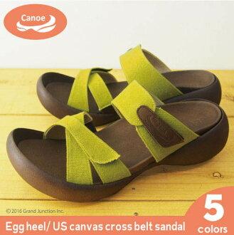 Canoe canoe エッグヒールキャンバスクロス belt sandal / ladies regatta EH101-04 made in Japan