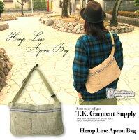【T.K.GarmentSupply】ヘンプラインエプロンバッグ/ボディバッグ/麻素材/ビンテージリメイク/ハンドメイド