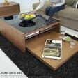 センターテーブル ウォールナット ガラス 木製ローテーブル ブラック 黒 北欧 モダン 正方形国産 完成品 / GS-DUAL コーヒーテーブル