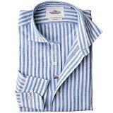 リネンシャツ[WEB限定SALE]日本製 ロンドンストライプ柄 長袖 カジュアルシャツ セミワイド ブルー 麻シャツ 370672-108 GALLIPOLI camiceria(ガリポリカミチェリア)