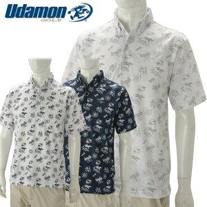 【あす楽対応】ユダマン メンズ ゴルフウェア ボタンダウンシャツ 半袖 XUD-1902 2019春夏 UdamonGOLF