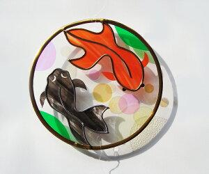 《光の風鈴》金魚 ステンドグラス風ウィンドチャイム 壁飾り  インテリア ギフト 贈り物 プレゼント 手作り ハンドメイド オリジナル