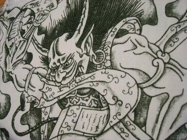 和柄 刺青ロンT(長袖) [筋彫り 風神/緑]【刺青シリーズ】 和彫り、筋彫り、入墨、入れ墨、タトゥーハーレー・バイカー・ロックンロール・パンク・的屋・チンピラ・ロカビリー系・悪羅悪羅・オラオラ