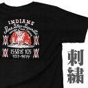 ネイティブアメリカン 刺繍Tシャツ インディアン (半袖) 【INDEAN】【綿 黒 通販 メンズ レディース ハーレー バイカー ロック T ロカビリー プレゼント 誕生日 定番 丸首】