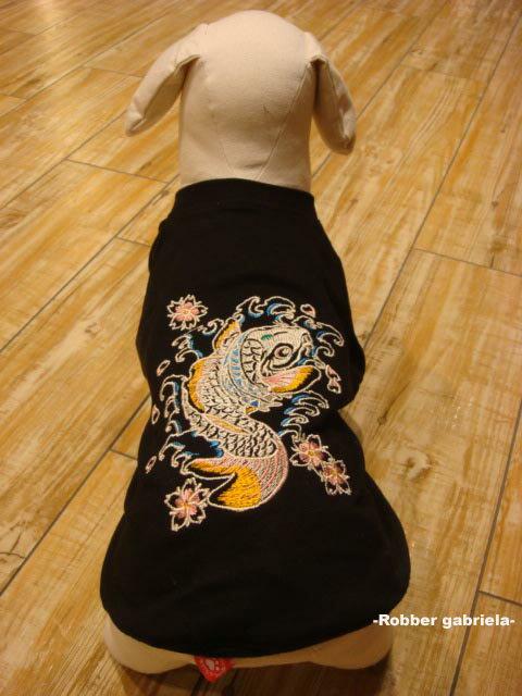 ≪犬用刺繍Tシャツ≫ S【鯉の滝登り】和柄・犬 服・犬 洋服