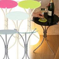 サイドテーブル・送料込・ベッド・ベット・ソファ・ソファー・ホワイト・ガラス・テーブル・北欧・50cm