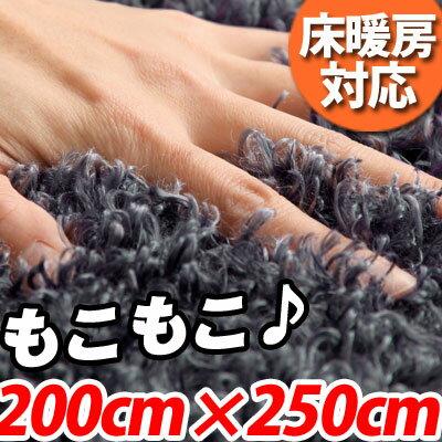 ラグマット グリーン カーペット 8畳 滑り止め 洗えるマット シャギー 200×250 モダン フロア マ...