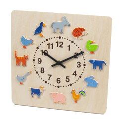 【最大2,000円引きクーポン配布中】時計 木製 掛け時計 ヘラー社 ヤーン動物【名入れ】