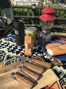 gaku style ガクスタイル キャンピング バーベキューシェフ フォールディングシェフ 折りたたみ包丁 専用国内製革ケース付き Santoku Petty Green Bread Knife 動画あり 2
