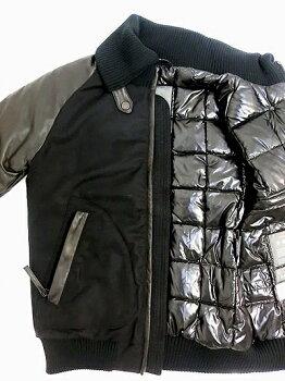 DUVETICA152-U8300国内正規品POLINICE袖レザードンキーダウンジャケットNero
