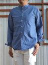 MA-S-351ルーズフィットバンドカラーシャツ春のパステルカラーBLUE