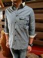 F4196PoloCollarShirtポロ襟7分袖シャツ