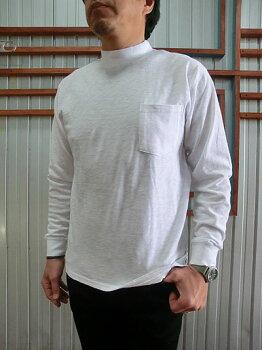 FRUITOFTHELOOM(フルーツオブザルーム)ポケット付き天竺スラブ無地長袖モックネックTシャツネイビーホワイト