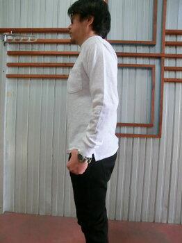 FRUITOFTHELOOM(フルーツオブザルーム)ポケット付き天竺スラブ無地長袖モックネックTシャツネイビーホワイト【あす楽対応】