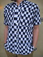 F3286イカット染めオリジナル生地3本針ワークシャツ