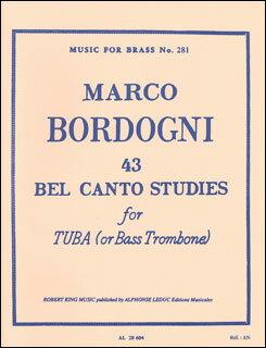 楽譜 マルコ・ボルドーニ/43のベルカント練習曲(534-02410/チューバまたはバストロンボーン/輸...