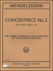 楽譜 メンデルスゾーン/演奏会用小品第2番 ヘ短調 作品114(1364/クラリネット、バスーン(またはチェロ)とピアノあるいは、2本のクラリネットとピアノ/輸入楽譜(T))