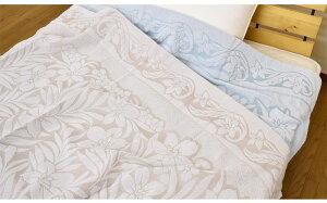 今治タオルケット綿100%シングル140×190cmブルー/イエロー(momo)日本製コットン寝具花柄洗える洗濯可能