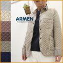 【送料無料】ARMEN【アーメン】コットンキルトシャツカラージャケット cotton quilt shirts collar jacket NAM0202B レディース 綿キルト シャツ襟 ブルゾン カバーオール S M L