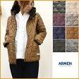 【送料無料】ARMEN【アーメン】ナイロン/フリース リバーシブルフード付きキルティングジャケット NAM0562 レディース フード