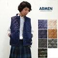 """ARMEN【アーメン】ナイロン/フリースリバーシブルスタンドカラーキルティングベスト""""NAM9984"""""""