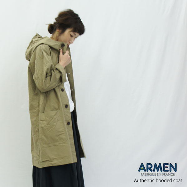ARMEN アーメン フード付きコート NAM1602CP レディース ワークコート ゆったり フランス製 スプリングコート 羽織り ロングジャケット