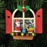 【xmas限定販売】《クリスマスオーナメント》 クリスマスの窓 サンタ
