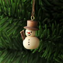 【xmas限定販売】《クリスマスオーナメント》 とんがり鼻のゆきだるま 白木茶帽子(小)