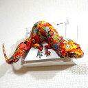 「巨大な花柄トカゲは右を気にする ED:4/10」 ポップアート アートパネル インテリア 現代アート ペーパークラフト 大村洋二朗 作品 トカゲ contemporaryart・・・