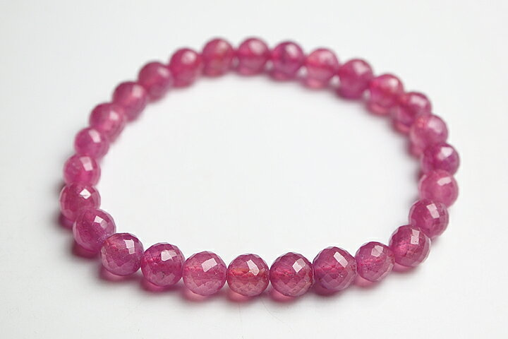 6.5mm宝石質ピンクサファイアカットブレスレット:ギャラリーメイスン